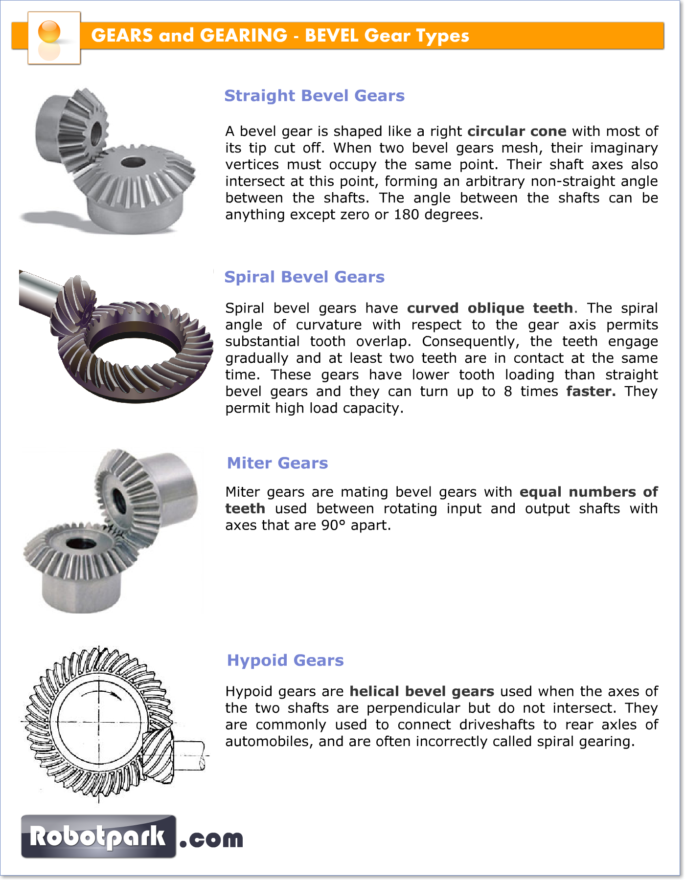 Types Of Gears : Robotic mechanisms bevel gears robotpark academy