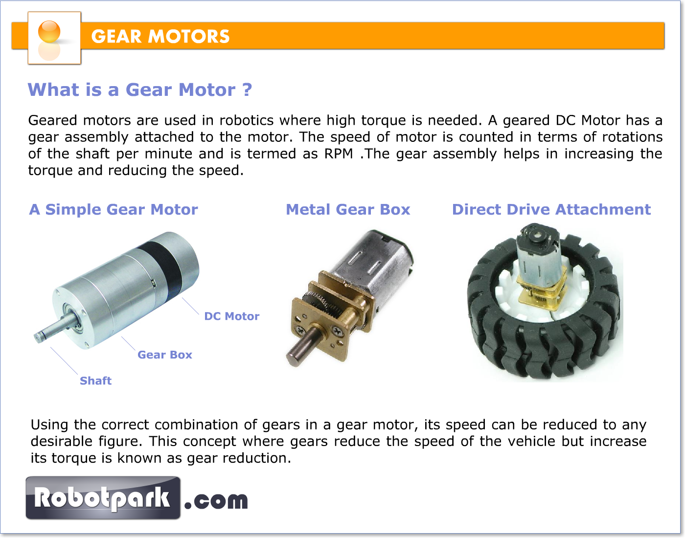 Gear motors gearboxes 51055 robotpark academy for Types of motors used in robotics pdf