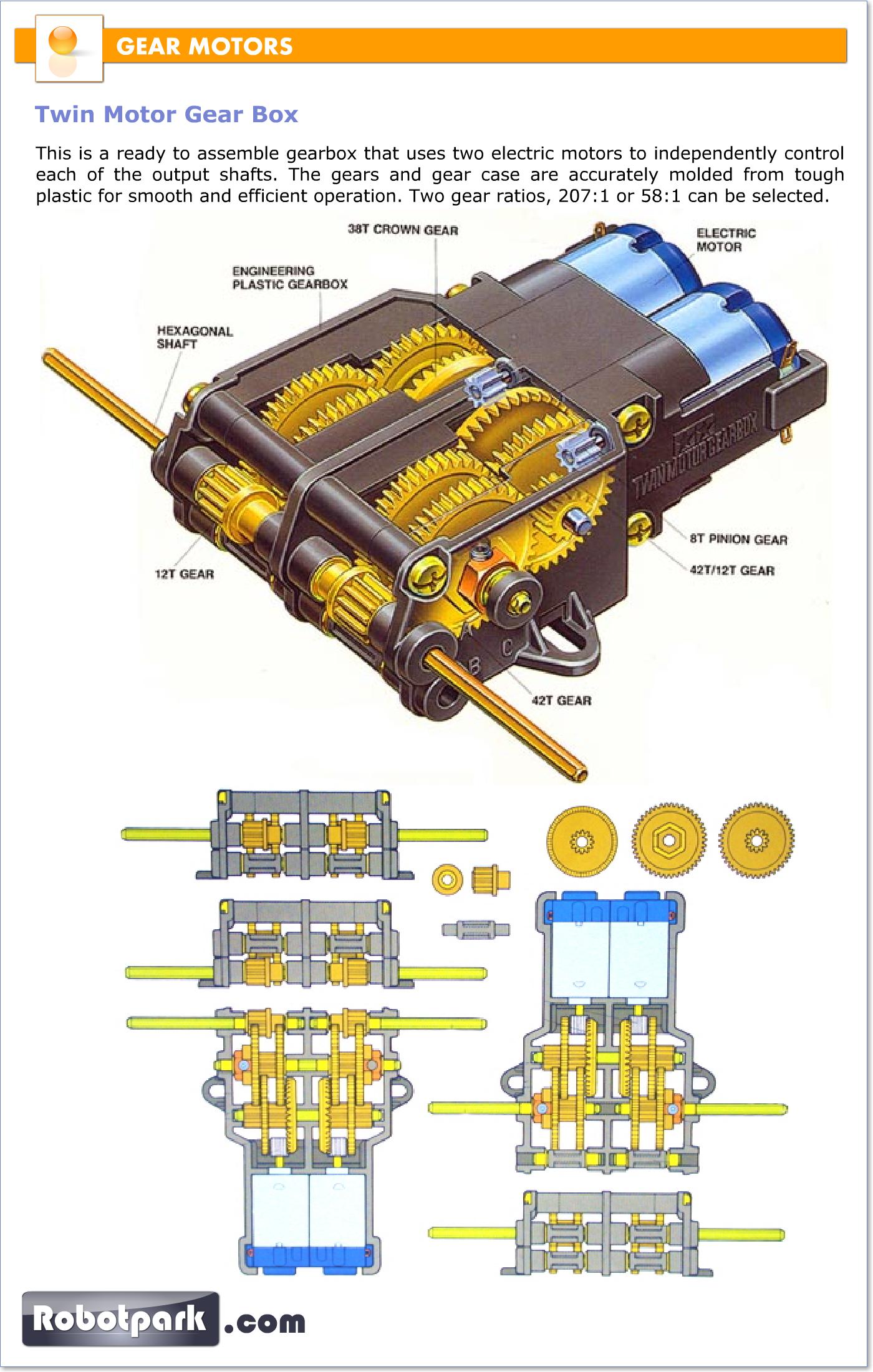 Gear motors gearboxes 51055 robotpark academy Gearbox motors