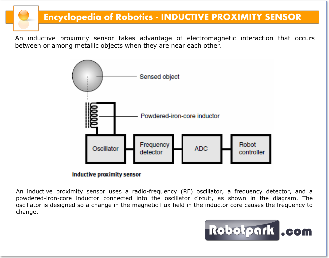Inductive Proximity Sensor 21069 Robotpark Academy Magnetic Switch An Uses A Radio Frequency Rf Oscillator Detector And Powdered Iron Core Inductor Connected Into The