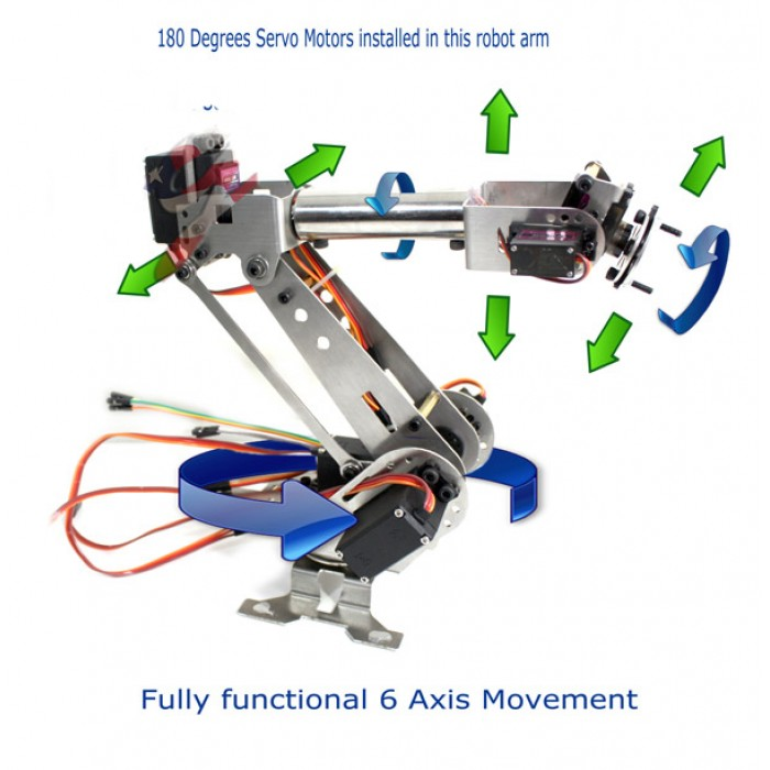 Fully Assembled 6 Axis Mechanical Robotic Arm Clamp