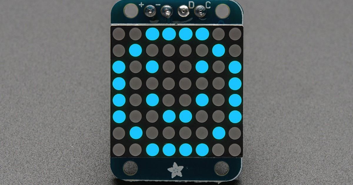 Adafruit Mini 8x8 LED Matrix w/I2C Backpack - Blue