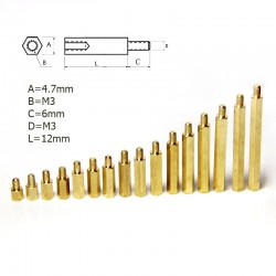 Metal Spacer - M3 12mm F-M (5 Pieces)
