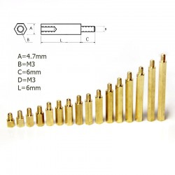 Metal Spacer - M3 6mm F-M (5 Pieces)
