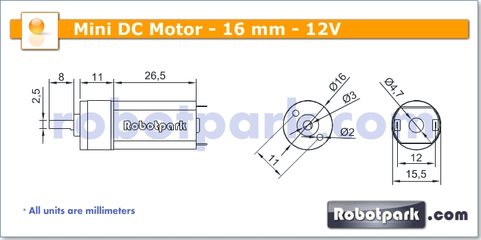 12v 2000rpm 16mm geared dc motor for Dc gear motor specifications